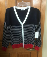 stripe short button up cardigan in navy or black