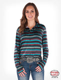 women's long sleeve, teal green serape, pullover with faux button front