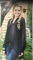 Women's sheer long sleeve black blouse