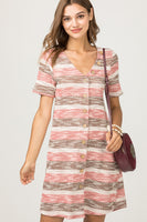short sleeve brown, coral, ivory stripe dress