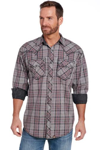 Long sleeve gray plaid shirt