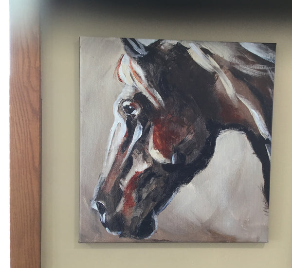 Brown abstract horse canvas