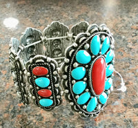 Stretch turquoise & Red stone bracelet