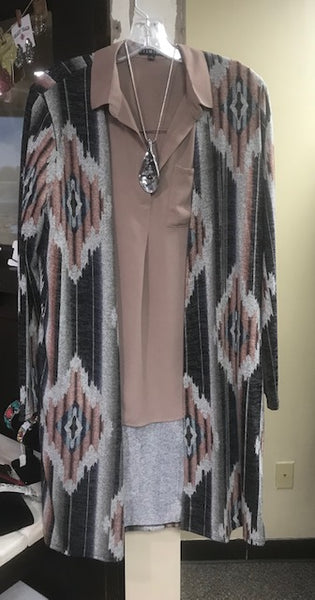 aztec print cardigan with side pockets