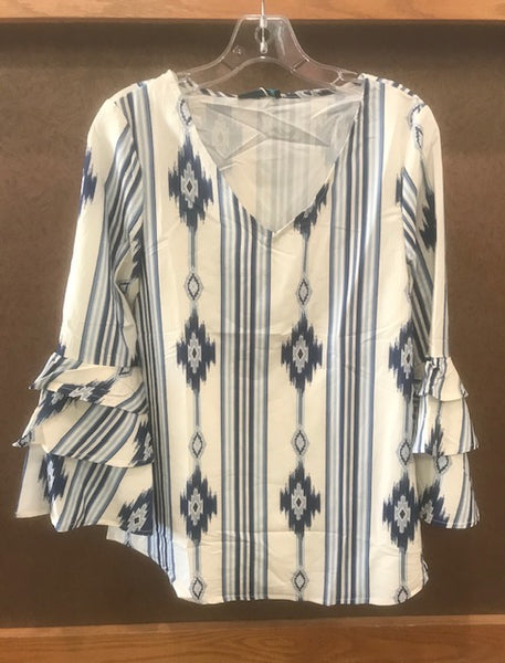 women's white & blue aztec print blouse