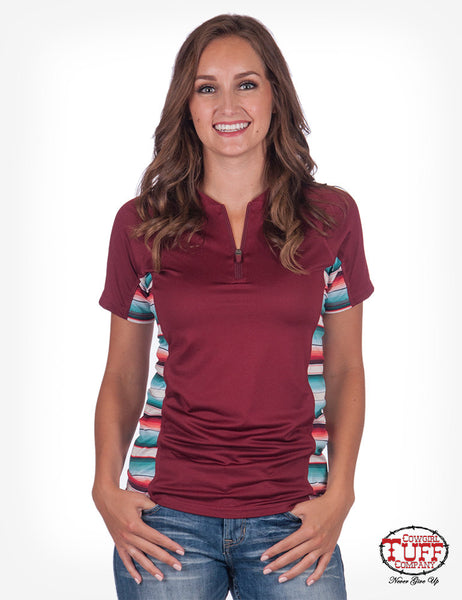 Women's red & serape short sleeve athletic jeersey 1/4 zip, by cowgirl tuff