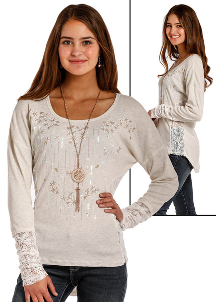 Women's Longsleeve cream sparkle & lace tee