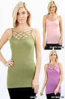 seamless triple criss cross front cami