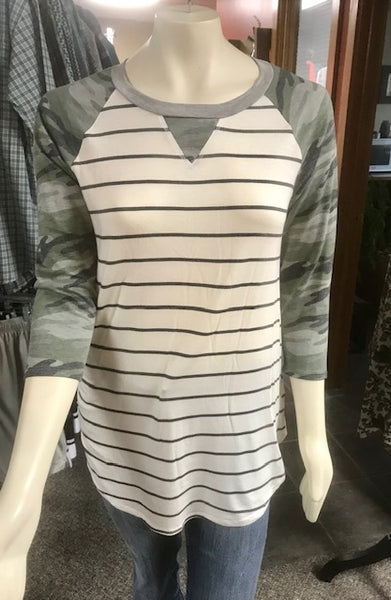 stripe top with camo sleeves