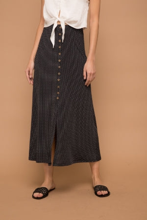 Black with white polka dot long skirt