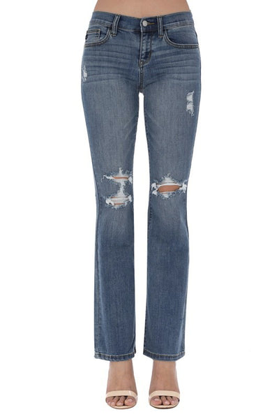 Plus size, boot cut destructed jean