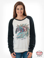 Women's Cowgirl Tuff Embroidered Horse Sweatshirt