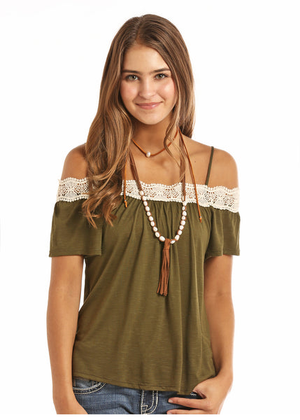 Women's olive shoulder peasant top