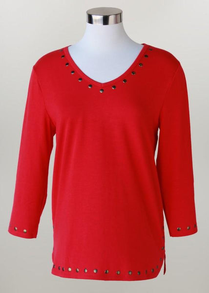 V-Neck Red 3/4 sleeve Plus size Tee
