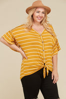 Mustard & Ivory tie front shirt