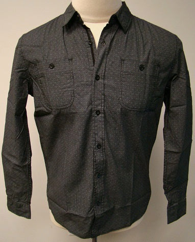Black small print button up shirt