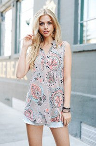 Women's mint paisley Sleeveless top