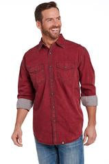 Long sleeve vintage wash red shirt