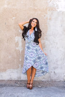 women's mint/navy wrap dress