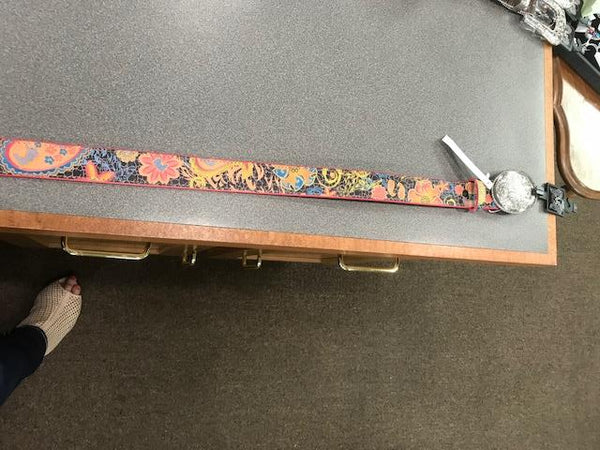 colorful belt with crackle black backround