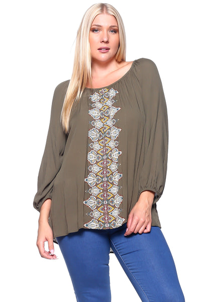 Tan peasant style blouse