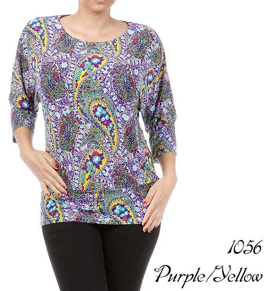 Women's 3/4 Sleeve purple print top