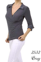 Women's 3/4 Sleeve gray collared shirt