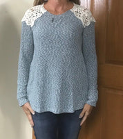 Women's long sleeve dusty blue shirt