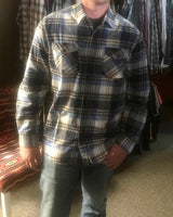 Men's blue & tan flannel shirt