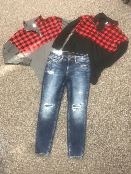 Women's long sleeve with gray or black body with red buffalo plaid top