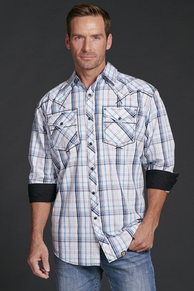 Cowboy Up Blue Plaid Western Shirt