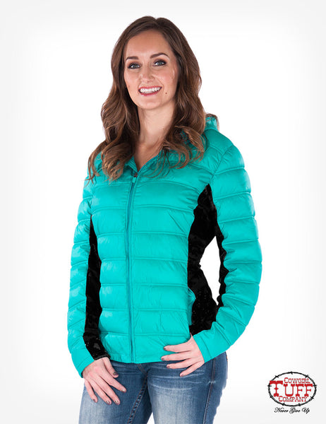 Women's teal winter coat by Cowgirl Tuff