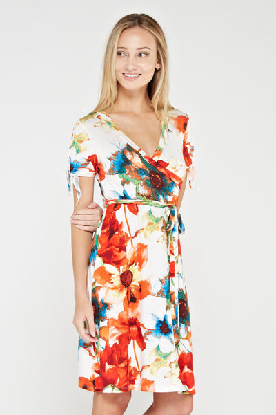 Women's Orange Floral Print Dress