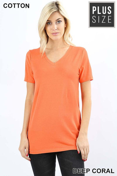 Plus size bright coral tee
