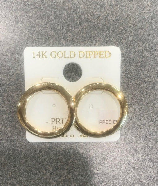 14K gold dipped - hypo allergenic round earrings