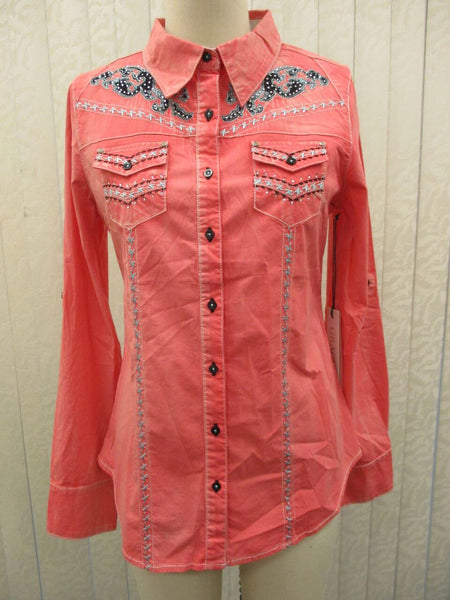 Coral long sleeve beautifully embellished blouse