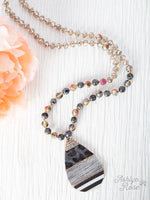 Shades of grey, long necklace