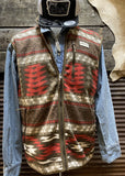 Hooey brown aztec fleece vest