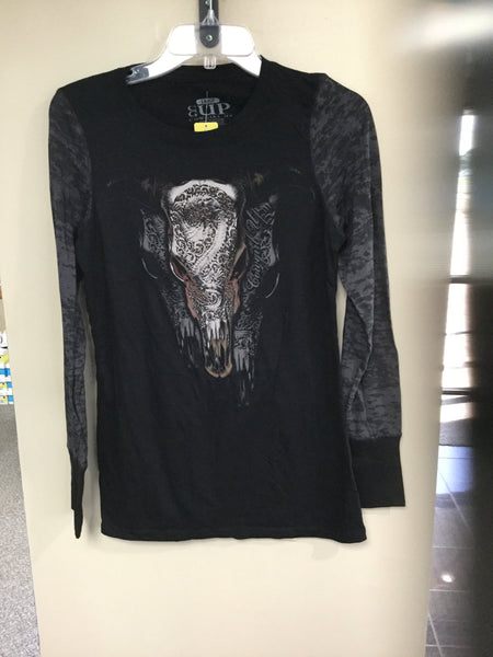 Women's Cowgirl Up Longsleeve Skull Top
