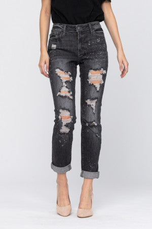 women's black wash destructed boyfriend jean