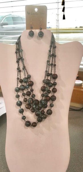 Multi layered patina beaded necklace & earring set