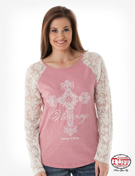 Cowgirl Tuff pink & lace long sleeve T