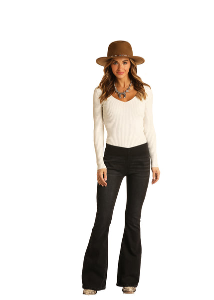 women's high rise flare by rock & roll
