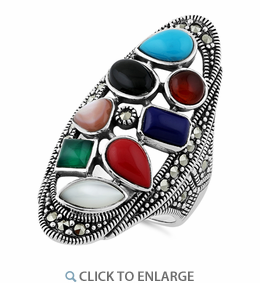 Sterling silver multi stone long oval ring