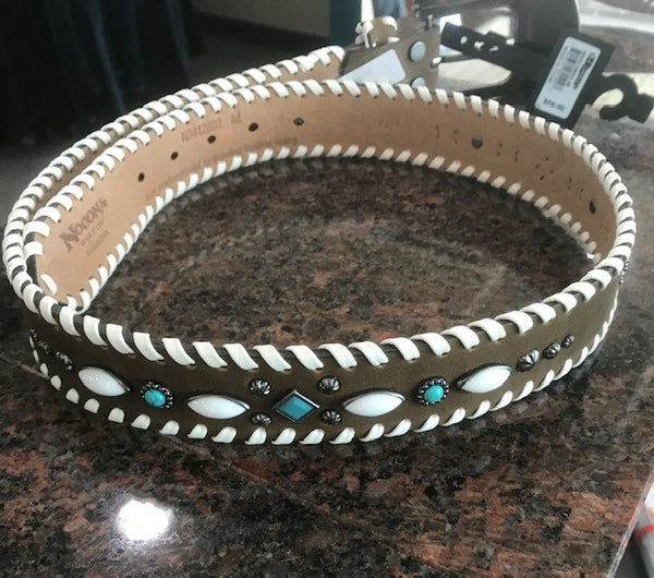women's belt with white whip stitch