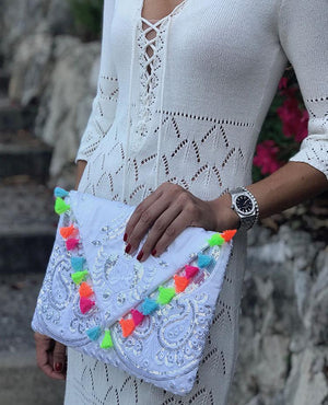 OmLuxe Collection Triangle Clutch - White With Multi-Color Tassels