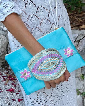 OmLuxe Collection Bracelet Clutch - Light Turquoise