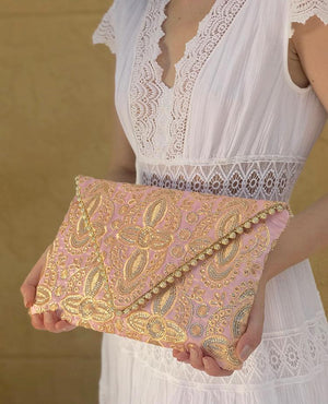 OmLuxe Collection Triangle Clutch - Light Pink & Gold - Omluxe Collection