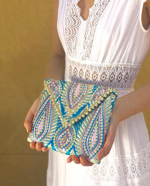 OmLuxe Collection Petite Triangle Clutch - Turquoise & Lavender - Omluxe Collection