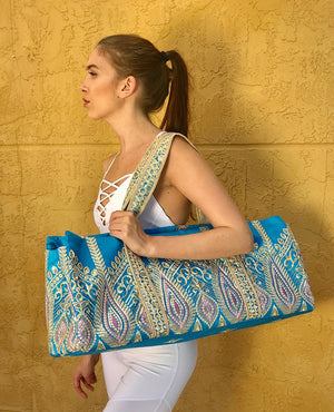 Omluxe Collection Yoga Tote - Turquoise & Lavender - Omluxe Collection